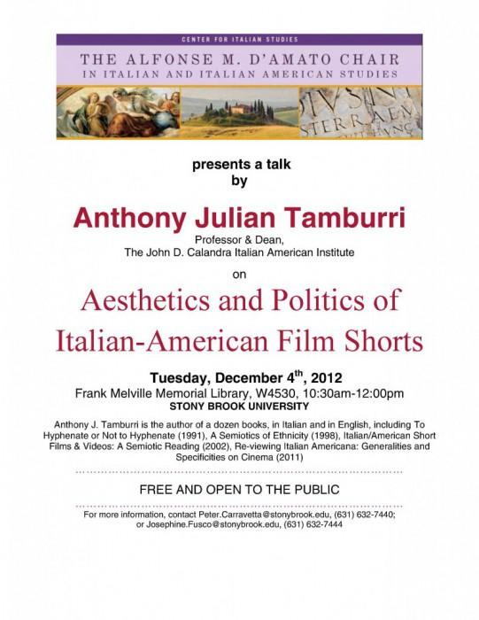 Anthony Tamburri: Film Shorts