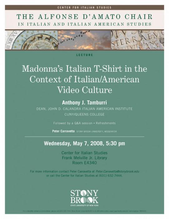 Anthony Tamburri: Madonna's Italian T Shirt