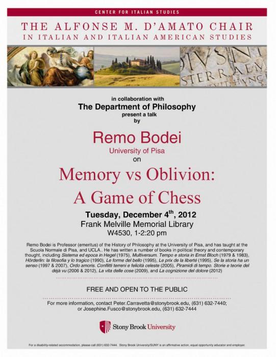 Remo Bodei: A Game of Chess