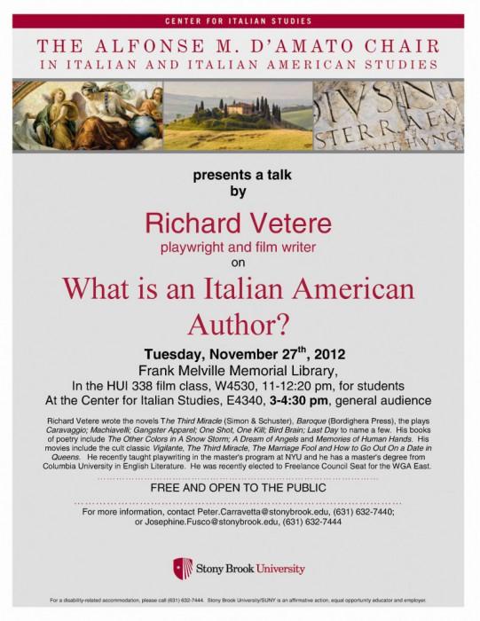 Richard Vetere: Italian American Authors