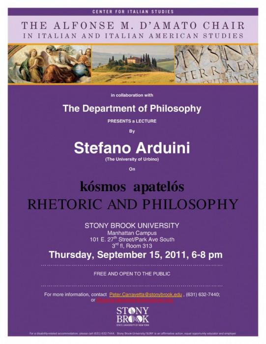 Stefano Arduini: Rhetoric & philosophy