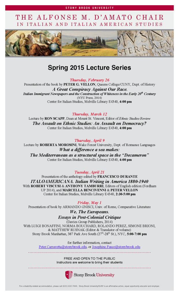 Spring 2015 D'Amato Lecture Series